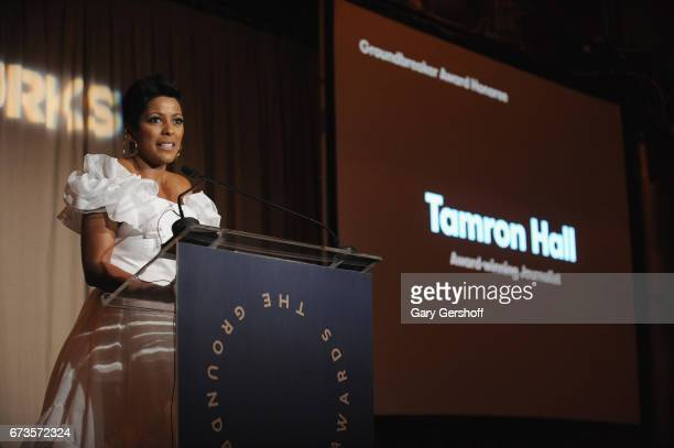 Journalist and honoree Tamron Hall speaks on stage at the Housing Works Ground Breaker Awards dinner on April 26 2017 in New York City