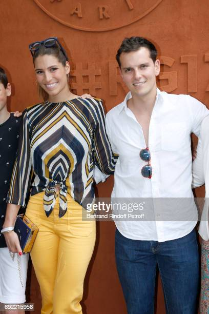 Journalist and Miss France 2011 Laury Thilleman and her compnaion Juan attend the 2017 French Tennis Open Day Height at Roland Garros on June 4 2017...
