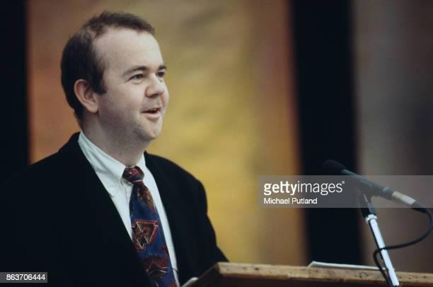Journalist and satirist Ian Hislop giving a speech London UK 1998