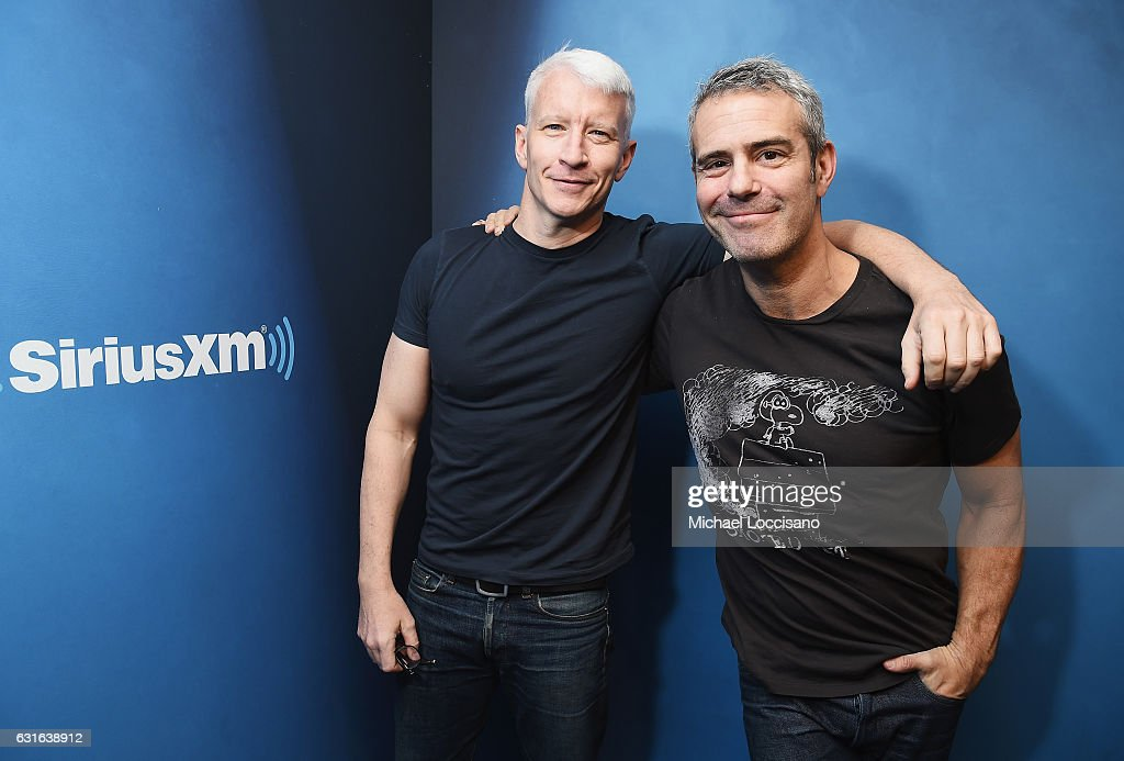 Journalist Anderson Cooper (L) and host Andy Cohen at SiriusXM Studios on January 13, 2017 in New York City.