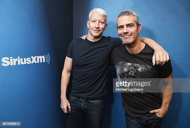 Journalist Anderson Cooper and host Andy Cohen at SiriusXM Studios on January 13 2017 in New York City