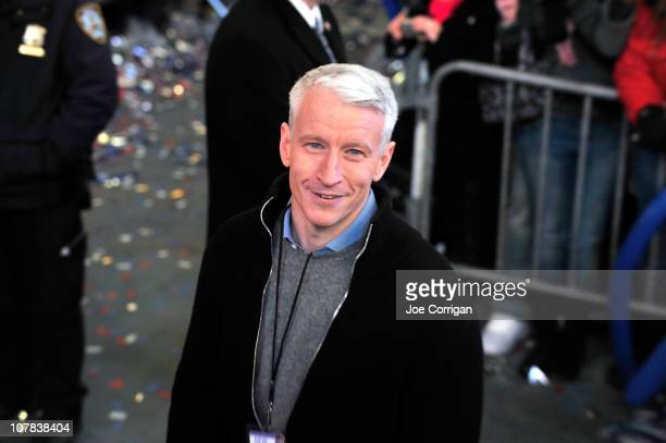 TV journalist Anderson Cooper attends New Year's Eve 2011 with Carson Daly at Times Square on December 31 2010 in New York City