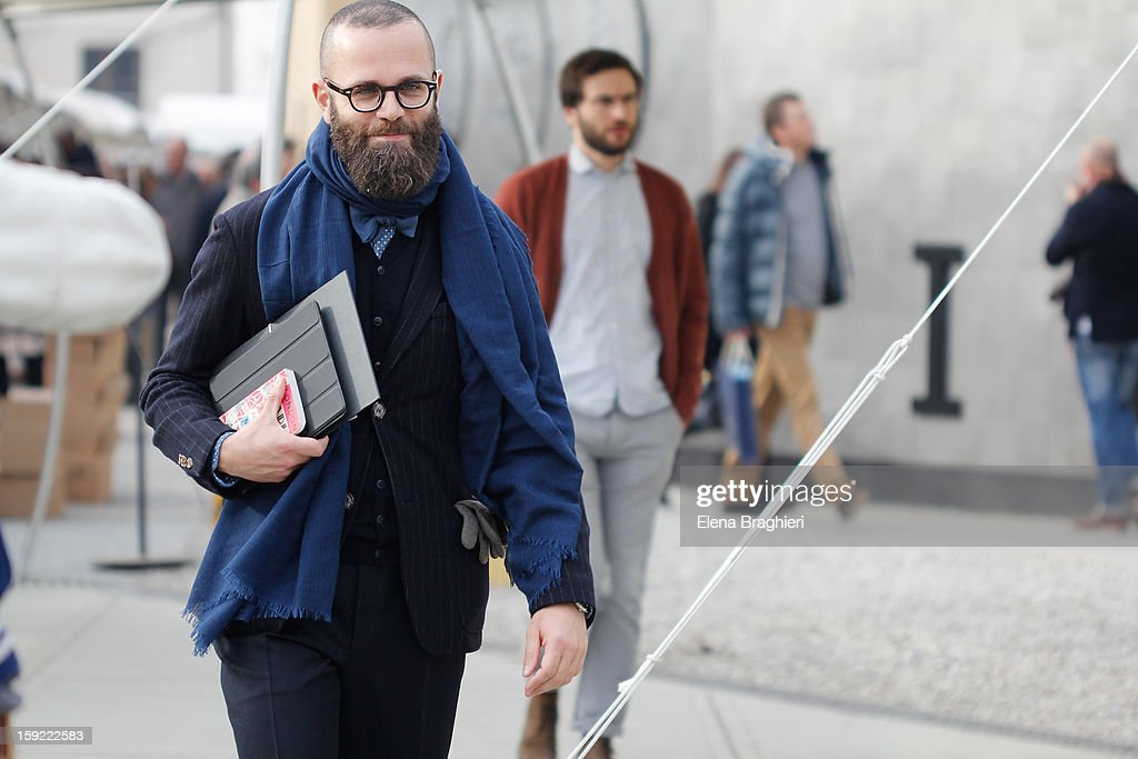 Journalist Angelo Flaccavento is seen at Pitti Immagine Uomo 83 on January 9, 2013 in Florence, Italy.