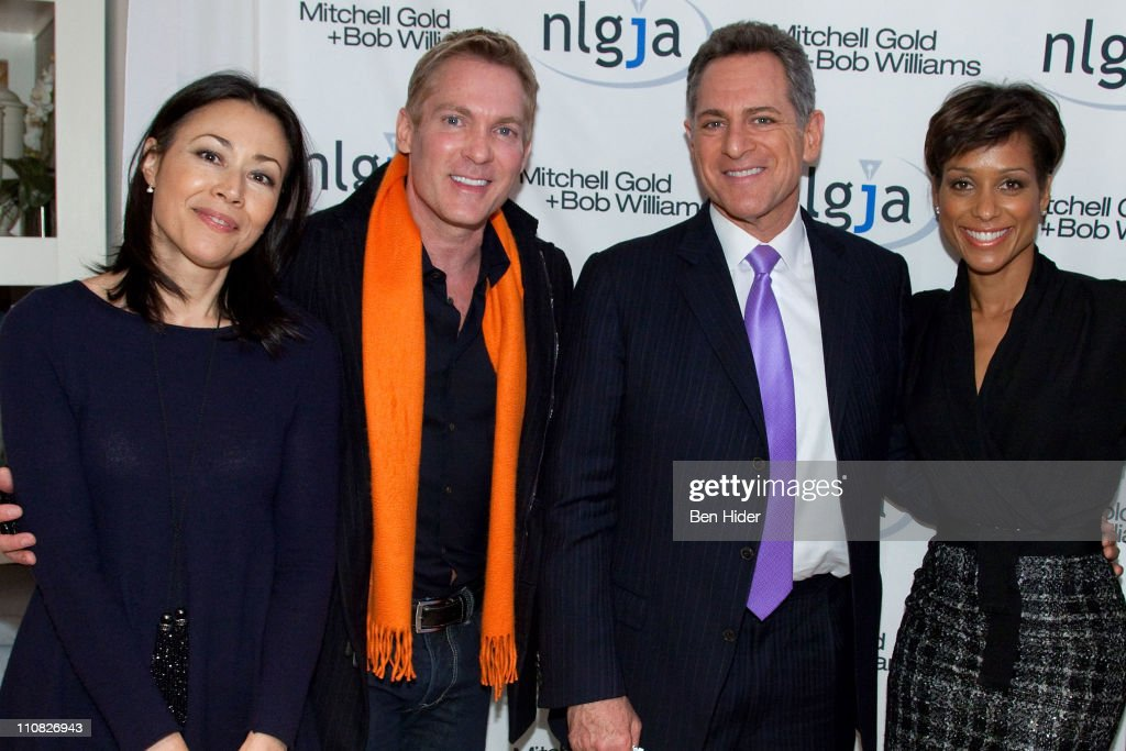 Journalist Ann Curry, Sam Champion, ABC news anchor Bill Ritter and Sade Baderinwa attend the National Lesbian & gay Journalists Association 16th Annual New York benefit at Mitchell Gold & Bob Williams SoHo Store on March 24, 2011 in New York City.