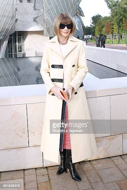 Journalist Anna Wintour attends the Louis Vuitton show as part of the Paris Fashion Week Womenswear Spring/Summer 2016 Held at Fondation Louis...