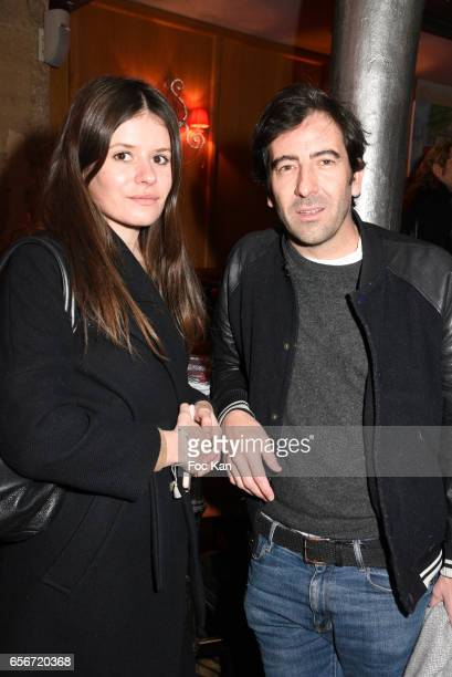 Journalist Anne Charlotte and producer/TV presenter Pierre Mathieu attend 'Apero Mecs A Legumes' Party Hosted by Grand Seigneur Magazine at the...
