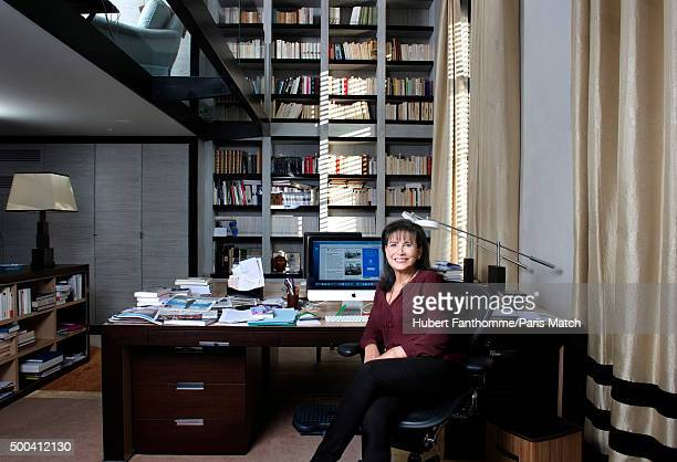 Journalist Anne Sinclair is photographed for Paris Match on November 11 2015 in Paris France