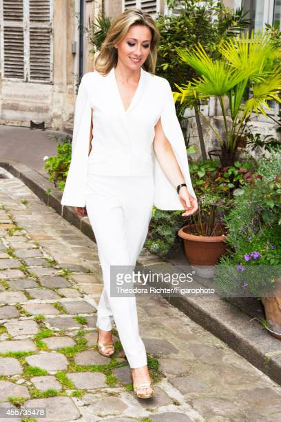 Journalist Anne Sophie Lapix is photographed for Madame Figaro on April 1 2014 in Paris France Suit shoes PUBLISHED IMAGE CREDIT MUST READ Theodora...