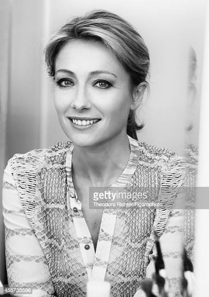 Journalist Anne Sophie Lapix is photographed for Madame Figaro on April 1 2014 in Paris France Shirt CREDIT MUST READ Theodora...
