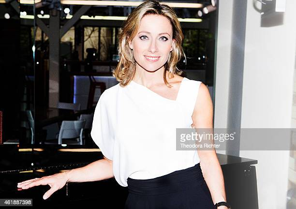 Journalist Anne Sophie Lapix is photographed for Madame Figaro on May 15 2014 in Paris France