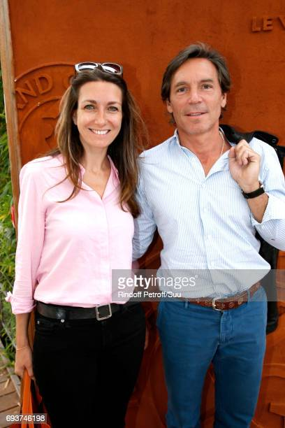 Journalist AnneClaire Coudray and her companion Nicolas Vix attend the 2017 French Tennis Open Day Twelve at Roland Garros on June 8 2017 in Paris...