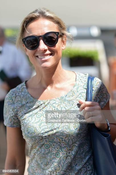 Journalist AnneSophie Lapix attends the French Tennis Open Day Fourteen at Roland Garros on June 10 2017 in Paris France