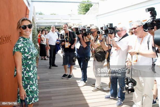 Journalist AnneSophie Lapix attends the Men Final of the 2017 French Tennis Open Day Fithteen at Roland Garros on June 11 2017 in Paris France