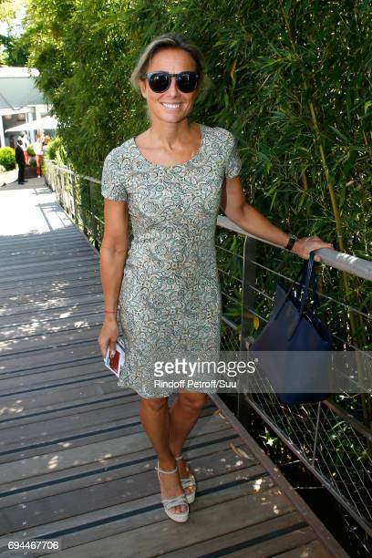 Journalist AnneSophie Lapix attends the Women Final of the 2017 French Tennis Open Day Fourteen at Roland Garros on June 10 2017 in Paris France