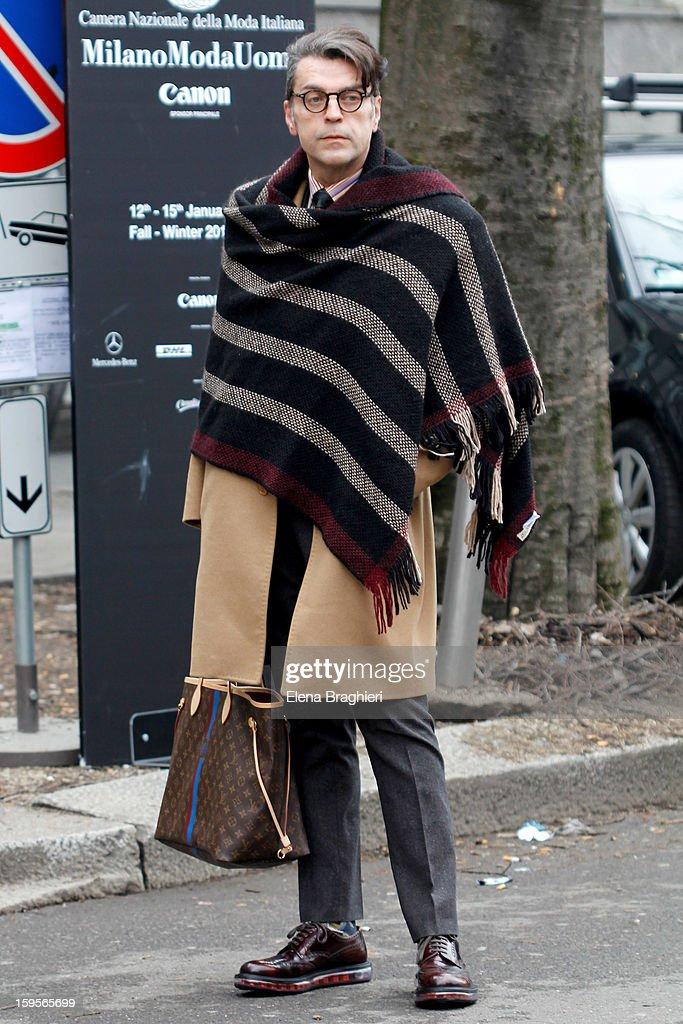 Journalist Antonio Mancinelli is seen during Milan Fashion Week on January 15, 2013 in Milan, Italy.