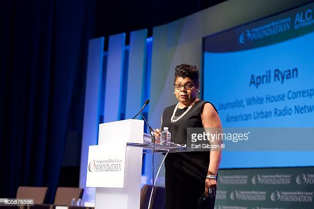 Journalist April Ryan serves as moderator at the National Town Hall at Walter E Washington Convention Center on September 15 2016 in Washington DC
