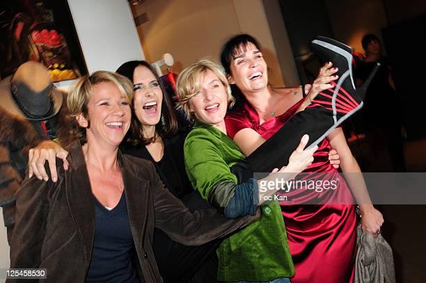 TV Journalist Ariane Massenet fashion designer Nathalie Garcon actresses Sophie Mounicot and Christine Citti attend the Nathalie Garcon Pop up Store...