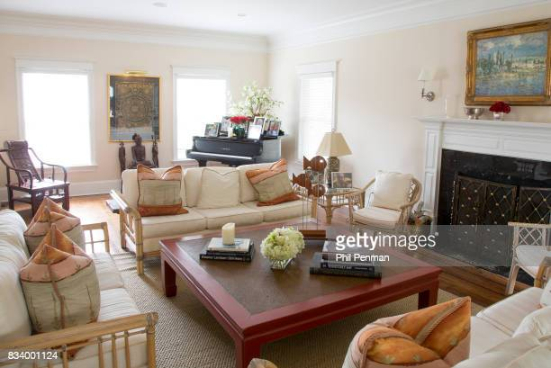 Journalist Ashleigh Banfield's home is photographed for Closer Weekly Magazine on March 4 2017 in Connecticut Banfield's living room features an...