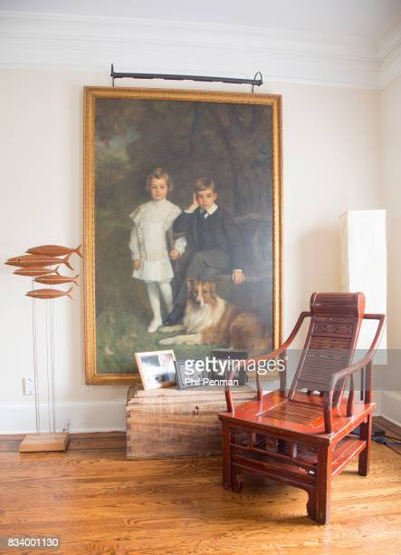 Journalist Ashleigh Banfield's home is photographed for Closer Weekly Magazine on March 4 2017 in Connecticut This painting is of Banfield's sons'...