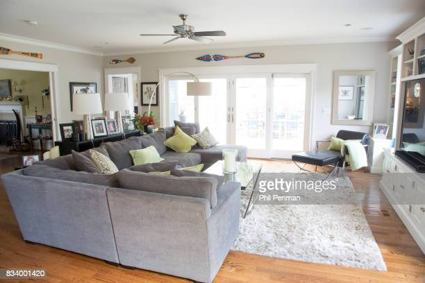 Journalist Ashleigh Banfield's home is photographed for Closer Weekly Magazine on March 4 2017 in Connecticut Banfield's family room