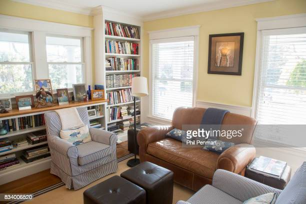 Journalist Ashleigh Banfield's home is photographed for Closer Weekly Magazine on March 4 2017 in Connecticut Banfield's library contains books from...
