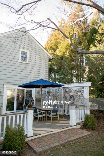 Journalist Ashleigh Banfield's home is photographed for Closer Weekly Magazine on March 4 2017 in Connecticut Banfield's patio PUBLISHED IMAGE