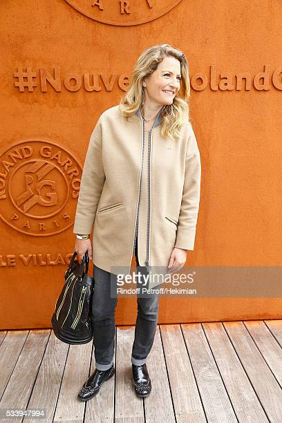Journalist Astrid Bard attends the 2016 French Tennis Open Day Three at Roland Garros on May 24 2016 in Paris France