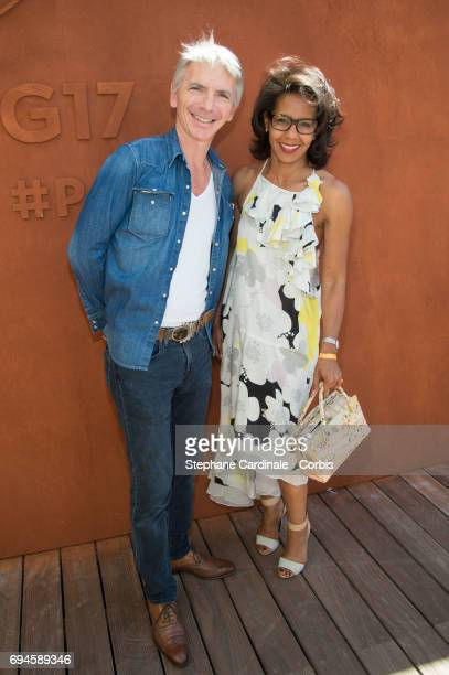 Journalist Audrey Pulvar and guest attend the French Tennis Open Day Fourteen at Roland Garros on June 10 2017 in Paris France