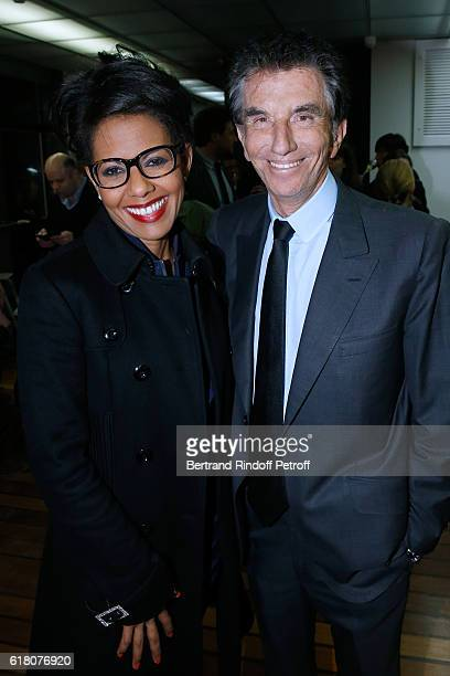 Journalist Audrey Pulvar and Jack Lang attend the Japenese Artist Takeshi Kitano receives the French Legion of Honor By Jack Lang at Fondation...