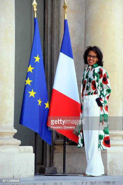 Journalist Audrey Pulvar arrives at the Elysee Palace where Bill and Melinda Gates will receives the award of Commander of the Legion of Honor by...