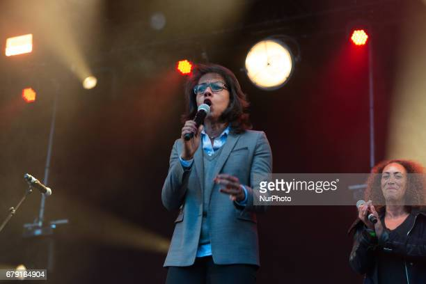 Journalist Audrey Pulvarthe SOS racism concert against the Front National in Paris France on May 4 2017