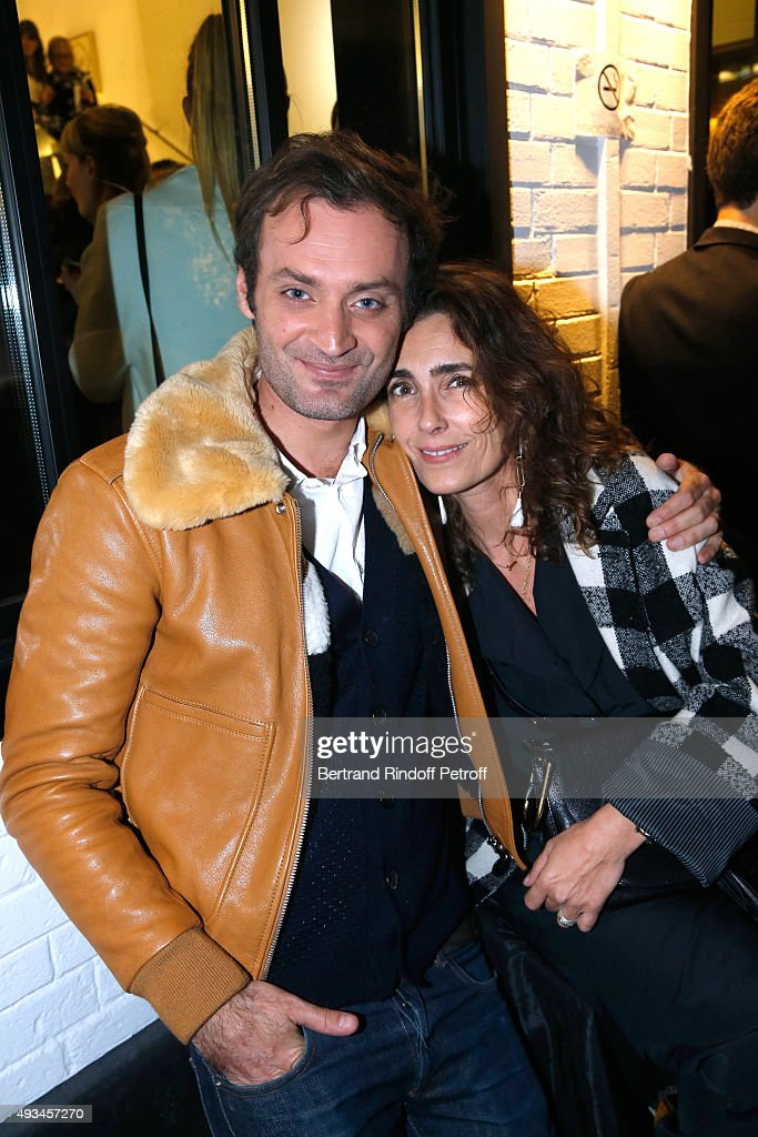 Journalist Augustin Trapenard and Mademoiselle Agnes Boulard attend the 'New American Art', Exhibition of Artists Matthew Day Jackson and Rashid Johnson, Opening Cocktail at Studio des Acacias on October 20, 2015 in Paris, France.