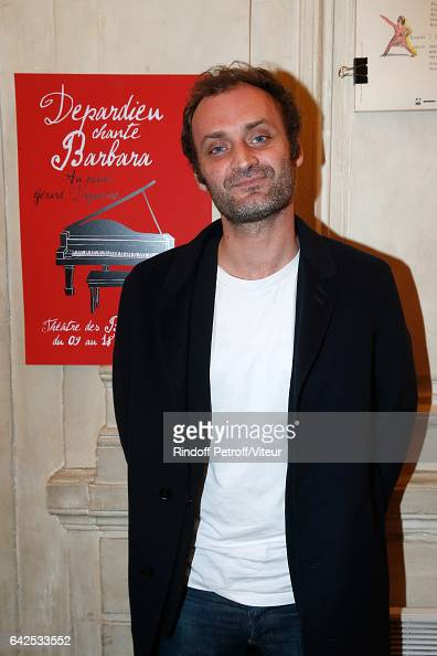 Journalist Augustin Trapenard attends Gerard Depardieu sings Barbara accompanied on the piano of Barbara by Gerard Daguere who was his Pianist for...