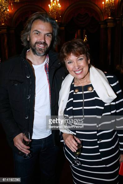 Journalist Aymeric Caron and Politician Roselyne Bachelot Narquin attend the 'A Droite A Gauche' Theater Play at Theatre des Varietes on October 12...