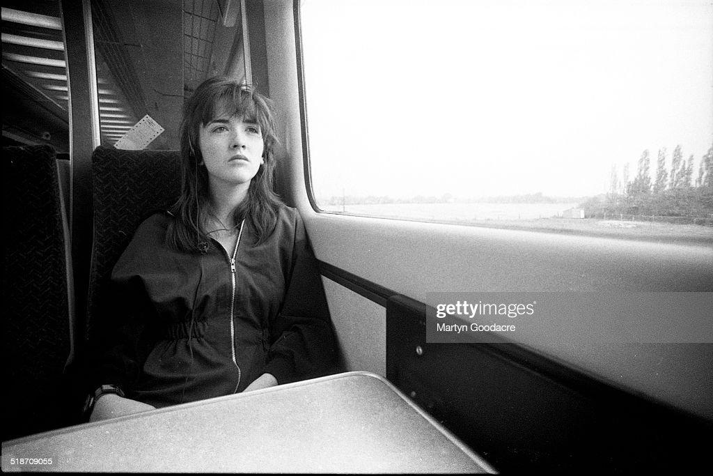 NME journalist Barbara Ellen on a train journey United Kingdom 1990