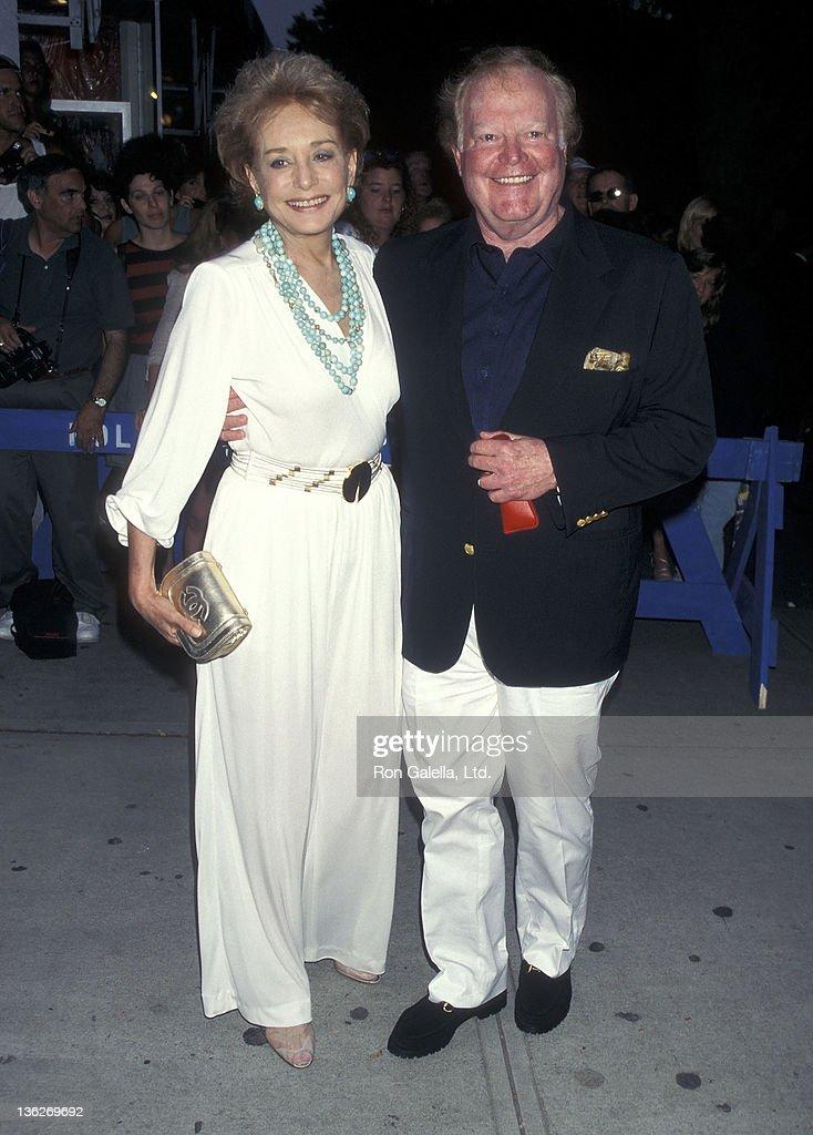 TV journalist Barbara Walters and TV journalist Roone Arledge attend 'The Edge' East Hampton Premiere on August 16, 1997 at the East Hampton Cinema in East Hampton, Long Island, New York.