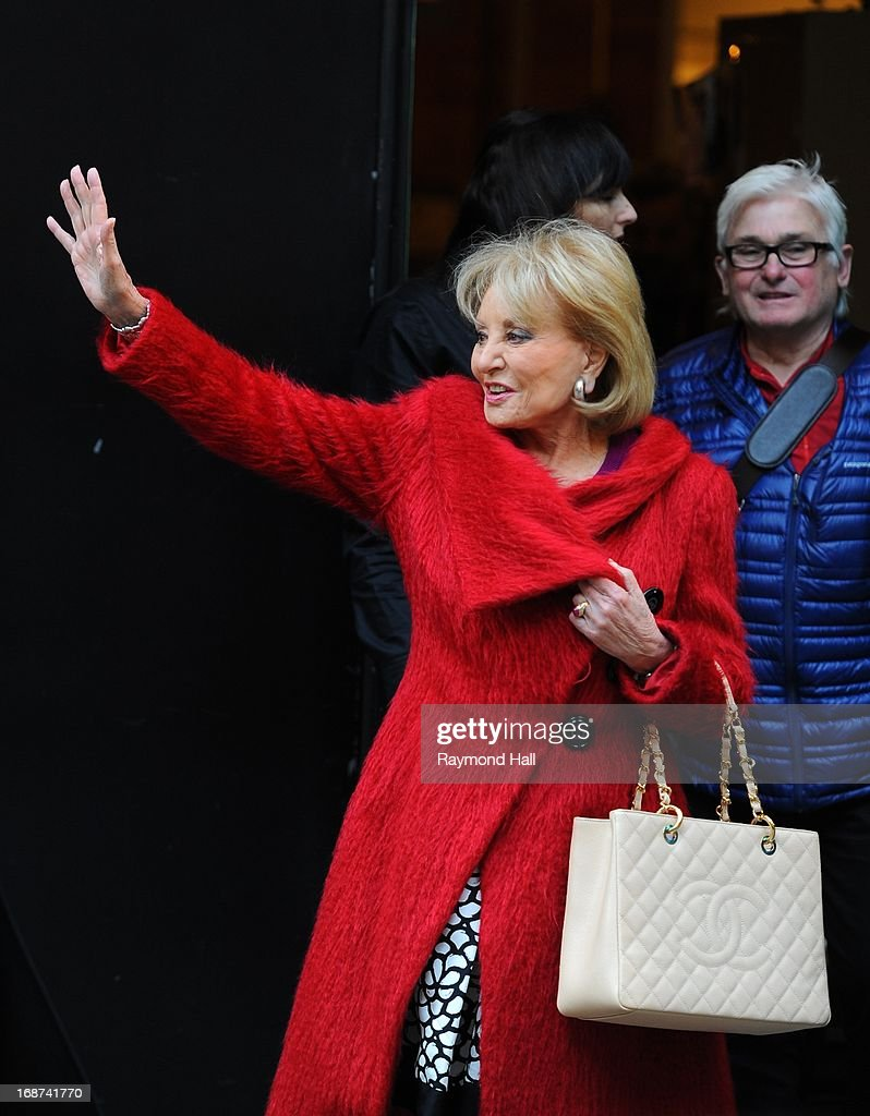 Journalist Barbara Walters is seen exiting 'Good Morning America'studios on May 14 2013 in New York City