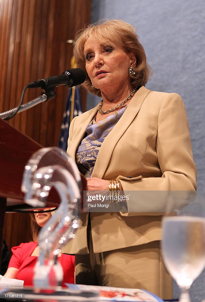 Journalist <a gi-track='captionPersonalityLinkClicked' href=/galleries/search?phrase=Barbara+Walters&family=editorial&specificpeople=201871 ng-click='$event.stopPropagation()'>Barbara Walters</a> makes a few remarks after receiving the ANWC 'Excellence in Journalism Award' at the American News Women's Club 2013 Gala Award luncheon at The National Press Club on June 21, 2013 in Washington, DC.