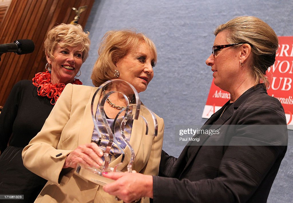 Journalist <a gi-track='captionPersonalityLinkClicked' href=/galleries/search?phrase=Barbara+Walters&family=editorial&specificpeople=201871 ng-click='$event.stopPropagation()'>Barbara Walters</a> (C) receives the ANWC 'Excellence in Journalism Award' at the American News Women's Club 2013 Gala Award luncheon at The National Press Club on June 21, 2013 in Washington, DC.