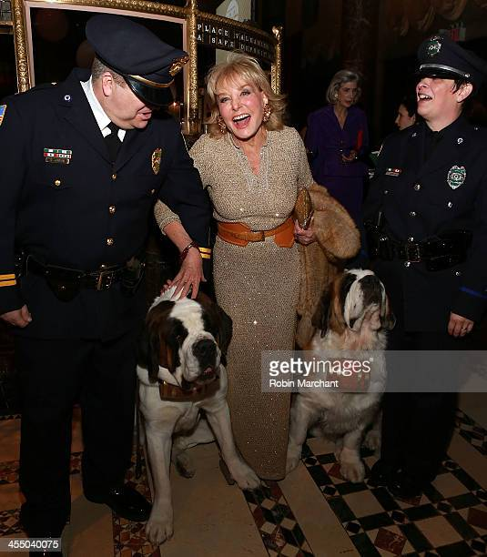 """Journalist Barbara Walters with Greenfield MA Police Dogs Rosie and Clarence recognized as the nation's first official police dogs for """"First..."""