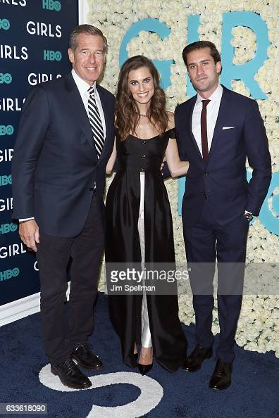 Journalist Brian Williams actress Allison Williams and Douglas Williams attend the the New York premiere of the sixth and final season of 'Girls' at...