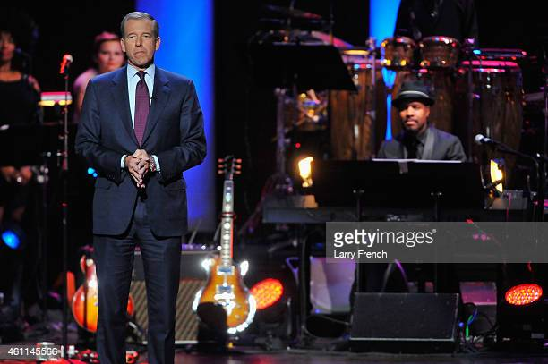 Journalist Brian Williams hosts onstage at The Lincoln Awards A Concert For Veterans The Military Family presented by The Friars Foundation at John F...