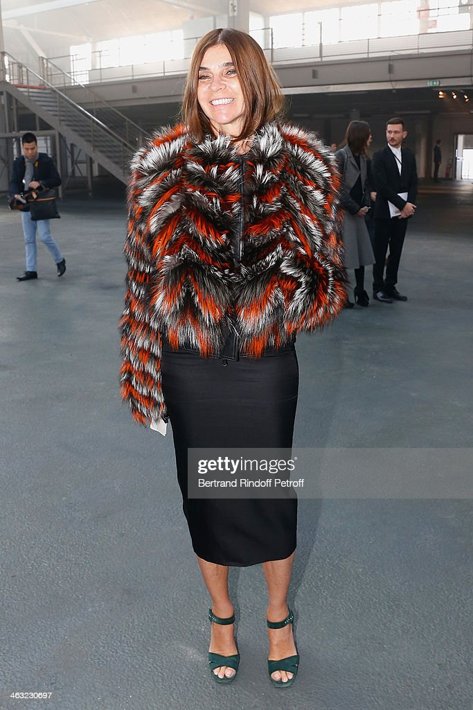 Journalist <a gi-track='captionPersonalityLinkClicked' href=/galleries/search?phrase=Carine+Roitfeld&family=editorial&specificpeople=240177 ng-click='$event.stopPropagation()'>Carine Roitfeld</a> attends the Givenchy Menswear Fall/Winter 2014-2015 Show as part of Paris Fashion Week. Held at Halle Freyssinet on January 17, 2014 in Paris, France.