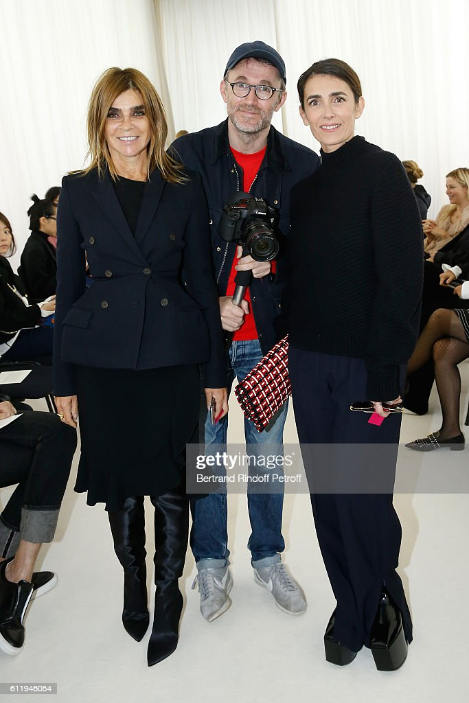 Journalist Carine Roitfeld, Photographer Loic Prigent and jouralist Mademoiselle Agnes Boulard attend the Balenciaga show as part of the Paris Fashion Week Womenswear Spring/Summer 2017 on October 2, 2016 in Paris, France.