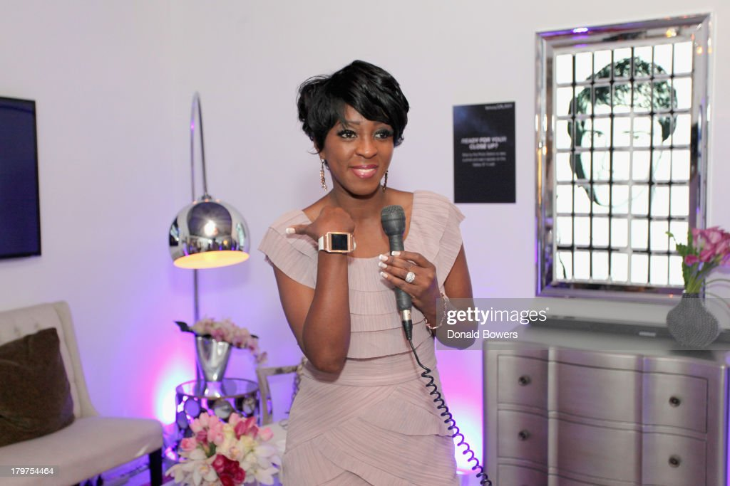 Journalist Cheryl Wills at The Samsung Galaxy Blue Room at Mercedes-Benz Fashion Week Spring 2014 Collections at Lincoln Center on September 6, 2013 in New York City.