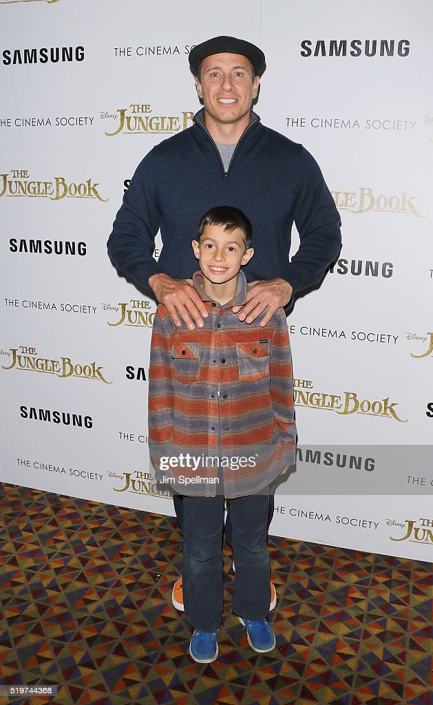 Journalist Chris Cuomo and son attend the screening of 'The Jungle Book' hosted by Disney with The Cinema Society and Samsung at AMC Empire 25 theater on April 7, 2016 in New York City.
