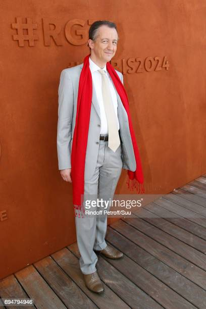 Journalist Christophe Barbier attends the Men Final of the 2017 French Tennis Open Day Fithteen at Roland Garros on June 11 2017 in Paris France
