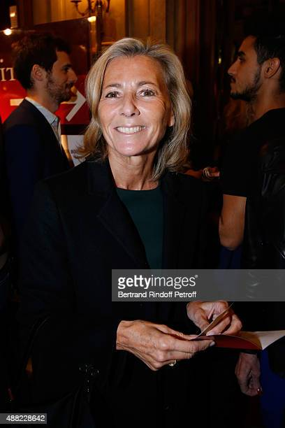 Journalist Claire Chazal attends 'Le Mensonge' Theater Play Held at Theatre Edouard VII on September 14 2015 in Paris France