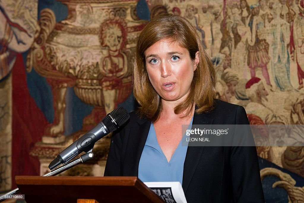 Journalist Claire Meynial addresses guests after being awarded the Prix Albert Londres at the French Ambassador's residence in west London, on May 27, 2016. A series of reports from Africa and a film about the war in Syria were awarded the Prix Albert Londres for francophone journalists on Friday, as organisers drew attention to the need to protect whistle-blowers. / AFP / LEON