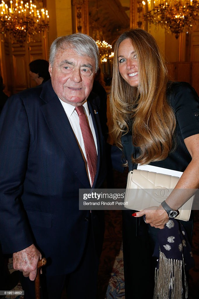 Journalist <a gi-track='captionPersonalityLinkClicked' href=/galleries/search?phrase=Claude+Lanzmann&family=editorial&specificpeople=2464586 ng-click='$event.stopPropagation()'>Claude Lanzmann</a> and Delphine Marang Alexandre attend writer Marc Lambron receives 'L'Epee d'Academicien' of 'Academie Francaise' on April 6, 2016 in Paris, France.